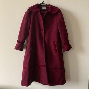 Vintage Rothschild burgundy wool princess coat